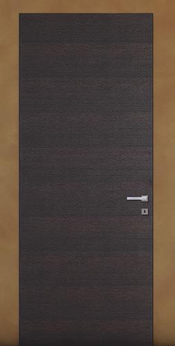 דלת עם משקוף אלומיניום נסתר בקו אפס לקיר עם פתיחה פנימה או החוצה, מגיעה בכל מידה.