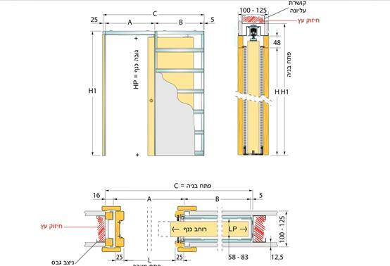 מפרט טכני לדלת הזזה לכיס בודד (סקריניו) לקיר גבס או לקיר בנוי בלוקים.