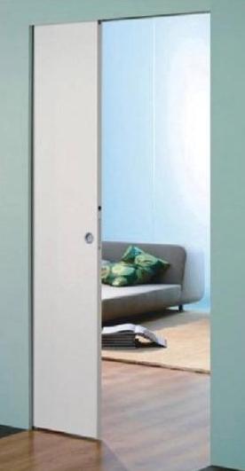 דלת בתוך כיס נסתר ללא הלבשות מדגם סקריניו סנסטיס. דלת הזזה לכיס בקו אפס